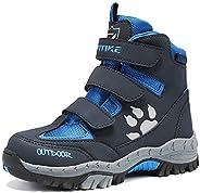 Littleplum Kids Hiking Shoes Walking Snow Boots Antiskid Steel Buckle Sole Waterproof Winter Outdoor Climbing