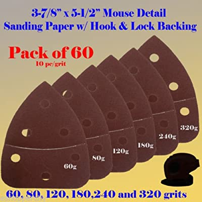 "60X Mouse Detail Sander Sandpaper Sanding Paper Hook & Loop Assorted 60 80 120 180 240 320 grits 5.5"" x 3.875"" Grit For Black & Decker, Craftsman, Ryobi Cat Mouse, Skil,"