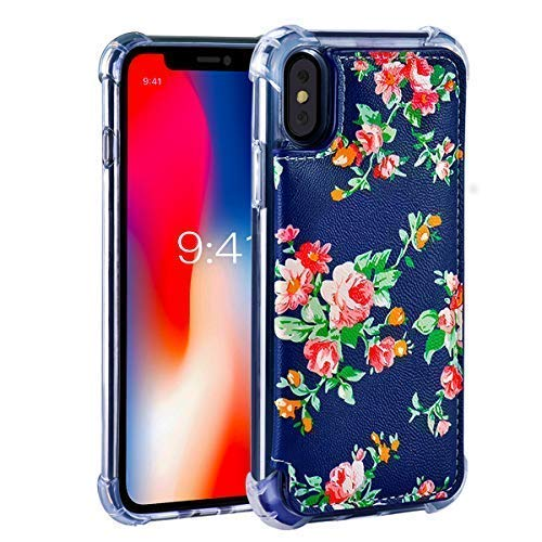 iPhone X/XS / 10 Wallet Case,iPhone X/XS Case with Card Holder,MISSCASE Leather Protective Case with Card Slots,Magnetic Closure,Floral Flower Pattern for iPhone X/XS Blue