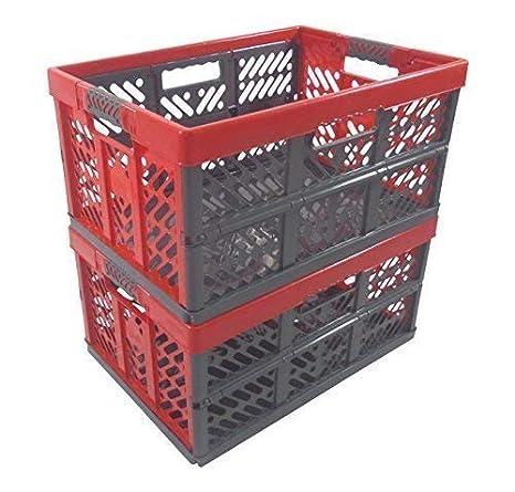 2 x Profesional - Klappbox TÜV certficado 45 L hasta 50 kg anthracite / rojo Caja plegable Plástico Cajón Caja: Amazon.es: Hogar