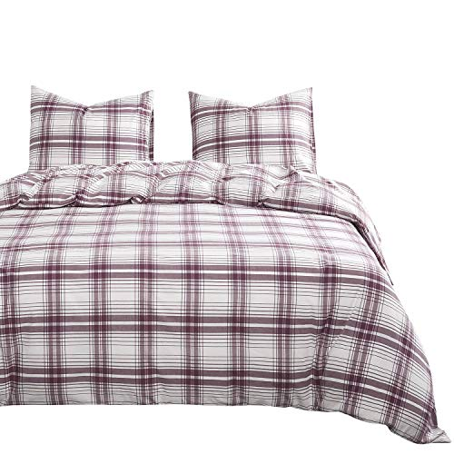 (Wake In Cloud - Scottish Plaid Duvet Cover Set, 100% Washed Cotton Bedding, Tartan Check Geometric Pattern in Pale Burgundy and White, with Zipper Closure (3pcs, Queen Size))