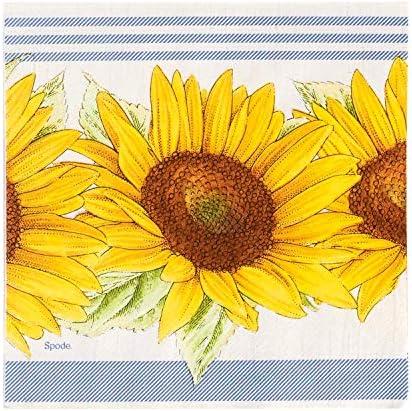 Portmerion Botanic Garden Sunflower Disposable Lunch Napkins, 5'' W x 5'' L, 20pcs