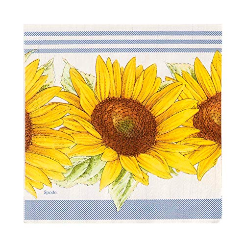 C.R. Gibson Yellow Sunflower Dessert and Luncheon Napkins, 20pc, 5'' W x 5'' -