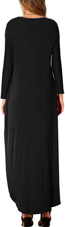 KIDSFORM Women Maxi Dress Long Sleeve Floral Baggy Ball Gown Solid Pocket Party Long Dresses Kaftan