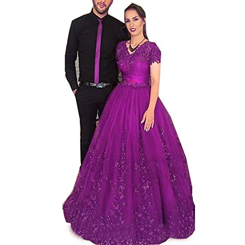 Jasminebridal Women's Cap Sleeves Wedding Dress Bling Lace Dresses For Bridal 2018 Eleght Tulle Quinceanera Dresses Fushia,18