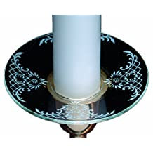 Biedermann & Sons Glass Bobeche Candle Rings with White Pattern, Set of 12