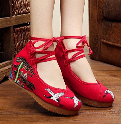 ezshe Mujer Bordado Suela de Goma Cuñas Tiras Zapatos de fiesta Rojo - rojo