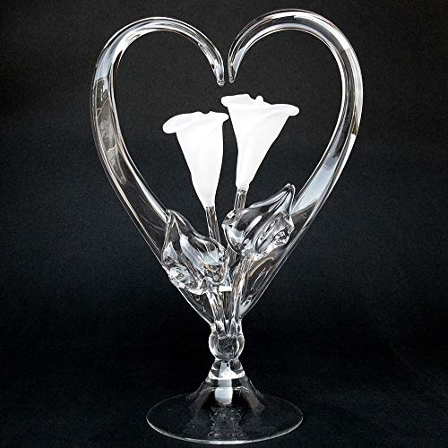 Calla Lily Lillies Wedding Cake Topper of Hand Blown Glass Frosted ()