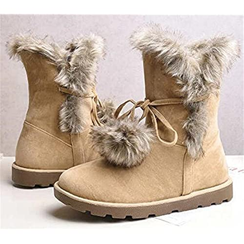 50%OFF Women's Fashion Winter Bowknot Pom-Poms Thick Faux Short Plush Lined Warm Flat Snow Boots PU Leather Nubuck Snow Boot