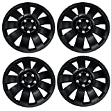 TuningPros WSC3-721B16 4pcs Set Snap-On Type (Pop-On) 16-Inches Matte Black Hubcaps Wheel Cover