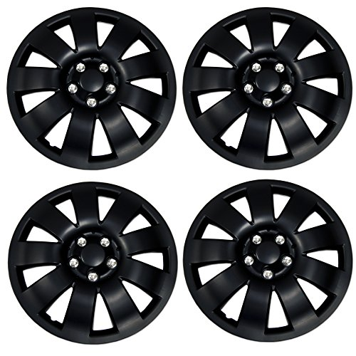 Tuningpros WC3-15-721-B - Pack of 4 Hubcaps - 15-Inches Style 721 Snap-On (Pop-On) Type Matte Black Wheel Covers ()