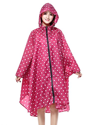 Polka Dot Raincoat - Buauty Ladies Rain Jacket Lightweight Red Polka Dot Printed Rian Coats