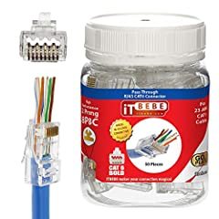 ✅ Max Insulated wire OD: 1.22mm    ✅ Custom ethernet cables made easy   Purchasing ethernet cables can be expensive and pre-made lengths are not always suitable for your needs. ITBEBE connector 50-piece Gold Plated ITBEBE RJ45 Pass-Through P...