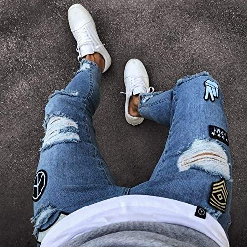 Da Distrutti Skinny Chern Uomo Fori Look Blau Denim In Stretch Fit Jeans Attillati Usato Pantaloni Streetwear Con Slim HdZwHzUq