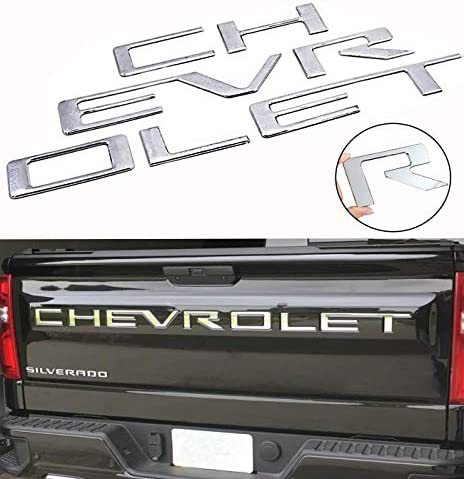 Chrome Guzetop Tailgate Insert Letters 3D Raised Tailgate Decal Letters fit for 2019 Chevy Silverado Chevrolet Emblem