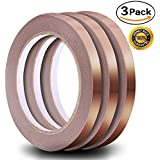 Copper Foil Tape Pack of 3, 1/4 inch, 21.8yard each 65.4 yard in Total, Copper Foil Adhesive Tape for Snail Repellent, EMI Shielding, Electrical Repair, Stained Glass, Paper Circuit, Soldering
