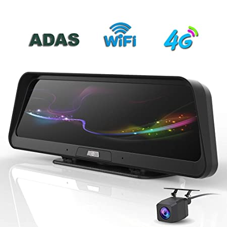 "10/"" Touch IPS Special 4G Car Dash DVR Dual Camera Mirror GPS Bluetooth WIFI ADAS"