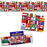Kitchen & Housewares : Beistle 57386 International Flag Poly Decorating Material, 18-Inch by 25-Feet
