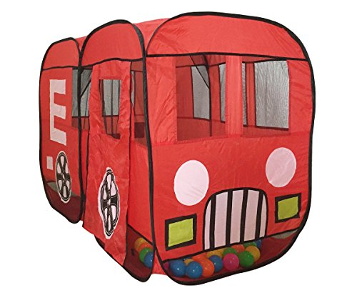 Utex Large Red Fire Truck Pop Up Play - Firetruck Tent For Kids