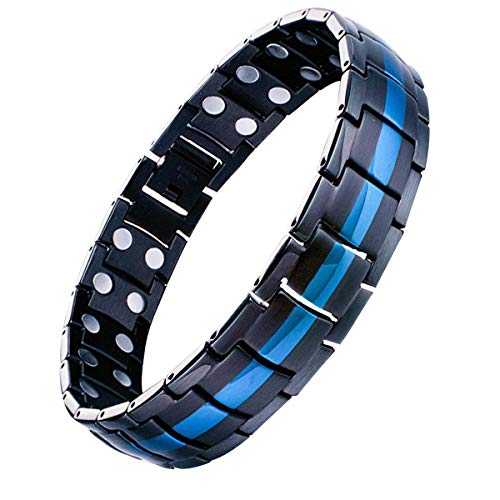 Feraco Mens Titanium Steel Magnetic Therapy Bracelet with Double Strong Magnets for Arthritis Pain Relief, Black&Blue ()