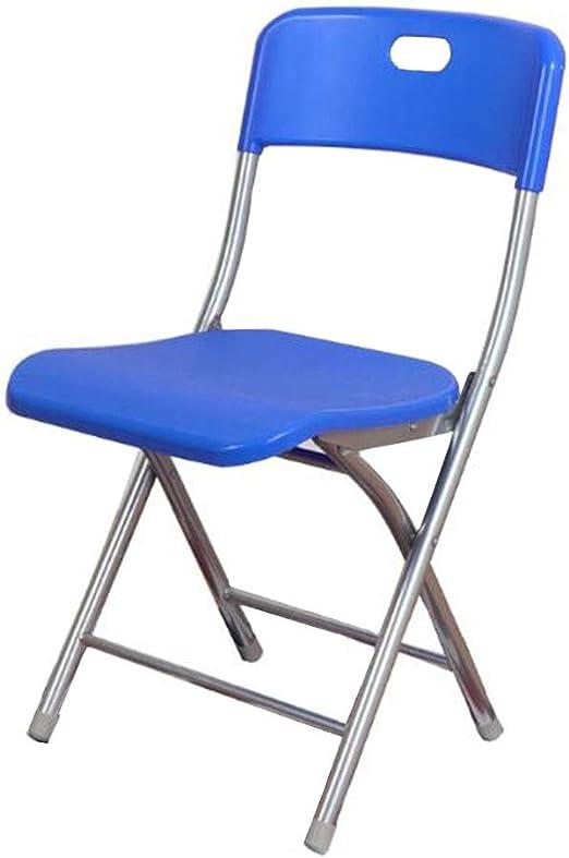 Sillas plegables, Marco De Acero Fuerte, Asiento De Plástico, para Balcón Jardín Sillas Casa Oficina Comida CJC (Color : Blue): Amazon.es: Hogar