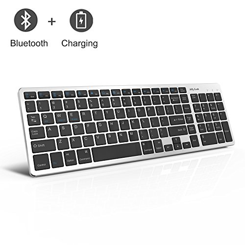 Wireless Bluetooth Keyboard, Jelly Comb K050 Ultra-thin Bluetooth Rechargeable Keyboard Compact Design for Macbook Windows PC Laptop Android iOS Tablet (iPad/Surface pro/Samsung Tab)-Black and Silver by Jelly Comb