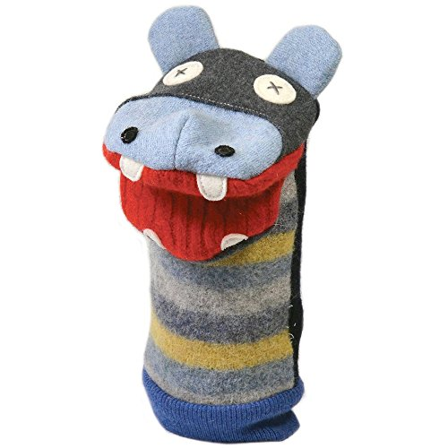 """Cate and Levi 12"""" Handmade Hippo Hand Puppet (Premium Reclaimed Wool), Colors Will Vary"""