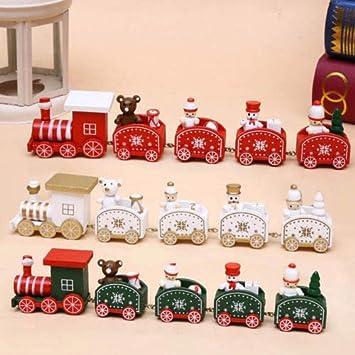 Christmas Wooden Train Santa Claus Festival Ornament Home Decor Kids Gifts
