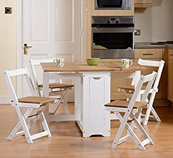 folding furniture for small spaces. Drop Leaf Dining Table 4 Chairs Extendable Extending Wooden Furniture Small Space Saving Breakfast Pine Top Folding For Spaces
