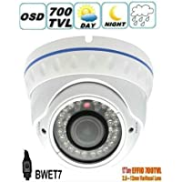 BW® BWET7 1/3 Sony CCD EFFIO-E 700TVLine IR Vandal-proof CCTV Dome Camera With 2.0 Megapixel 2.8-12mm Lens,30M Night Vision-White