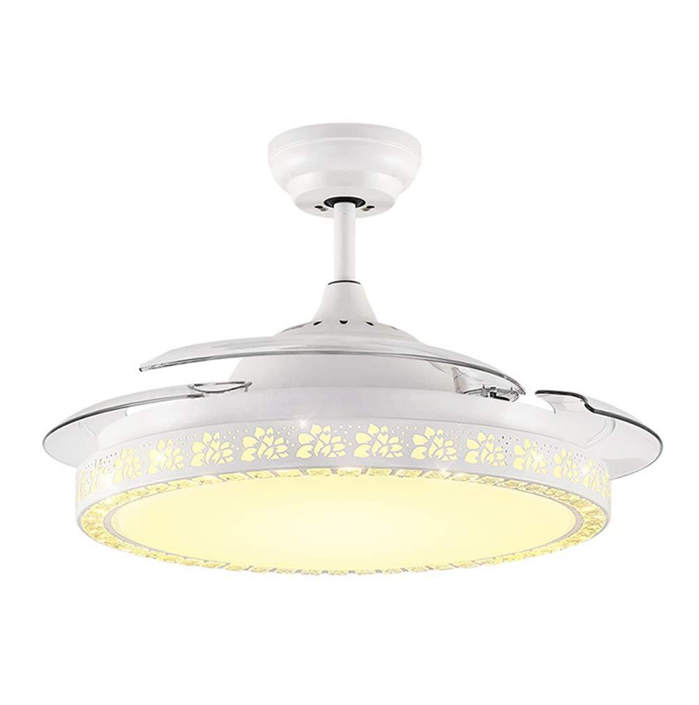 シャンデリア 42インチファンペンダント照明、ランプ付きシンプルホームシーリングファン、モダンレストラン目に見えないファンシャンデリア、ウォールコントロールスイッチ、ホワイト B07RDG5S5P