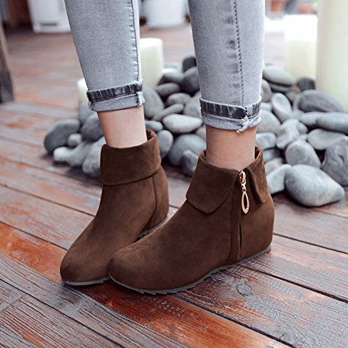 Booties Women's Brown Inside Toe Short Stylish Boots Side Faux Shoes Zipper Heighten Summerwhisper Round Suede Ankle Folded RB00dqw