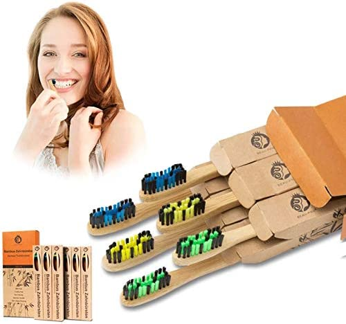 Bambus Zahnbürsten Zahnbürste Holzzahnbürste Aktivkohle Zahnbürsten Bamboo Toothbrush Nachhaltige Produkte Zero Waste Plastikfrei Verpackte Bambus-Zahnbürste-6er Pack mit Umweltfreundlicher Packung