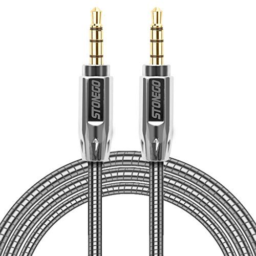 3.5mm Auxiliary Audio Male to Male Cable Zinc Alloy AUX Cord for Apple IPhone, Samsung Galaxy (3.3FT, SILVER)