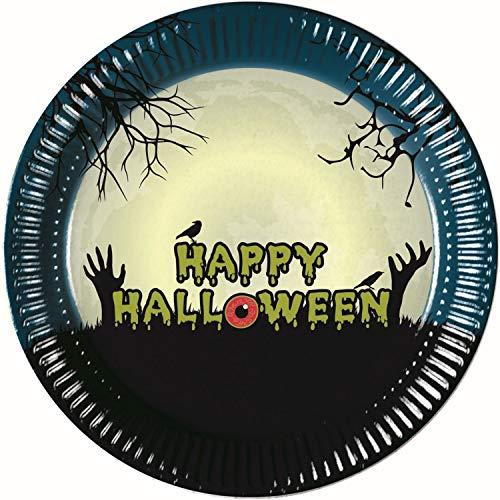 Procos 90973 Halloween Party Plates Cardboard Pack of 8 Black Blue Beige]()