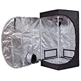 BloomGrow 24''x24''x48'' 600D Mylar Hydroponic Water-Resistant Grow Tent with Plastic Corner Removable Floor Tray for Indoor Plant Growing (24''x24''x48'')
