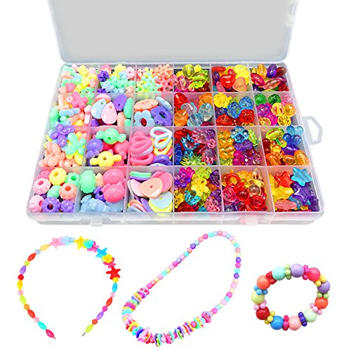 Bead Kits Set For Jewelery Making – Craft Beads For Little Girls DIY Necklaces Bracelet Children Games Colorful Acrylic Handmade Beaded Set Accessories Gift For Kids(color4),HUATK