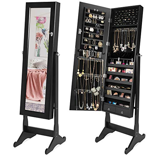 Best Choice Products Full Length Tilting Mirrored Cabinet Jewelry Armoire with Velvet Lined Interior, 6 Shelves, Stand Rings, Necklaces Hooks, Bracelet Rod, Cubbies, Lock and Key, Black (Mirror With Cabinets Jewelry)