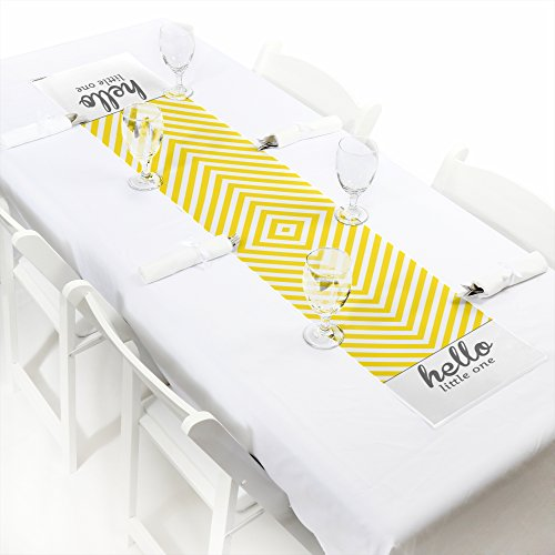Big Dot of Happiness Hello Little One - Yellow and Gray - Petite Neutral Baby Shower Party Paper Table Runner - 12