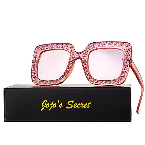 JOJO'S SECRET Crystal Brand Designer Retro Oversized Square Sunglasses For Women JS001 (Pink/Pink, - Shades Sunglasses Brand
