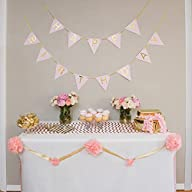 Pastel Pink and Gold Perfection Happy Birthday Bunting Banner with Gold Foil Letters and Gold Foil…