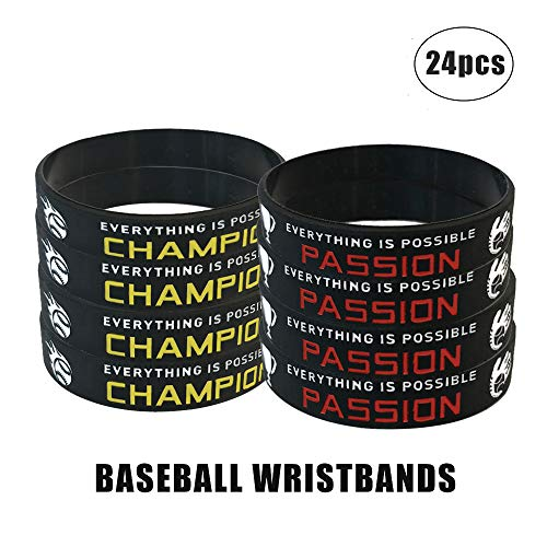 24 Pack Baseball Silicone Wristbands Bracelets, Baseball Birthday Party Favors for Kids, Goody Bag Sports Teacher & School Gifts for Boys and -