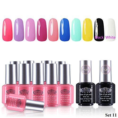 Perfect Summer Gel Nail Polish 10 Colors Nail Lacquers + 2 C