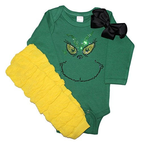 Grinch Outfits (Infant Baby Girls' Rhinestone Grinch stlyle Christmas Rhinestone outfit)
