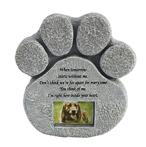 JHB Pet Memorial Stone Paw Print Stone with Photo Frame S...