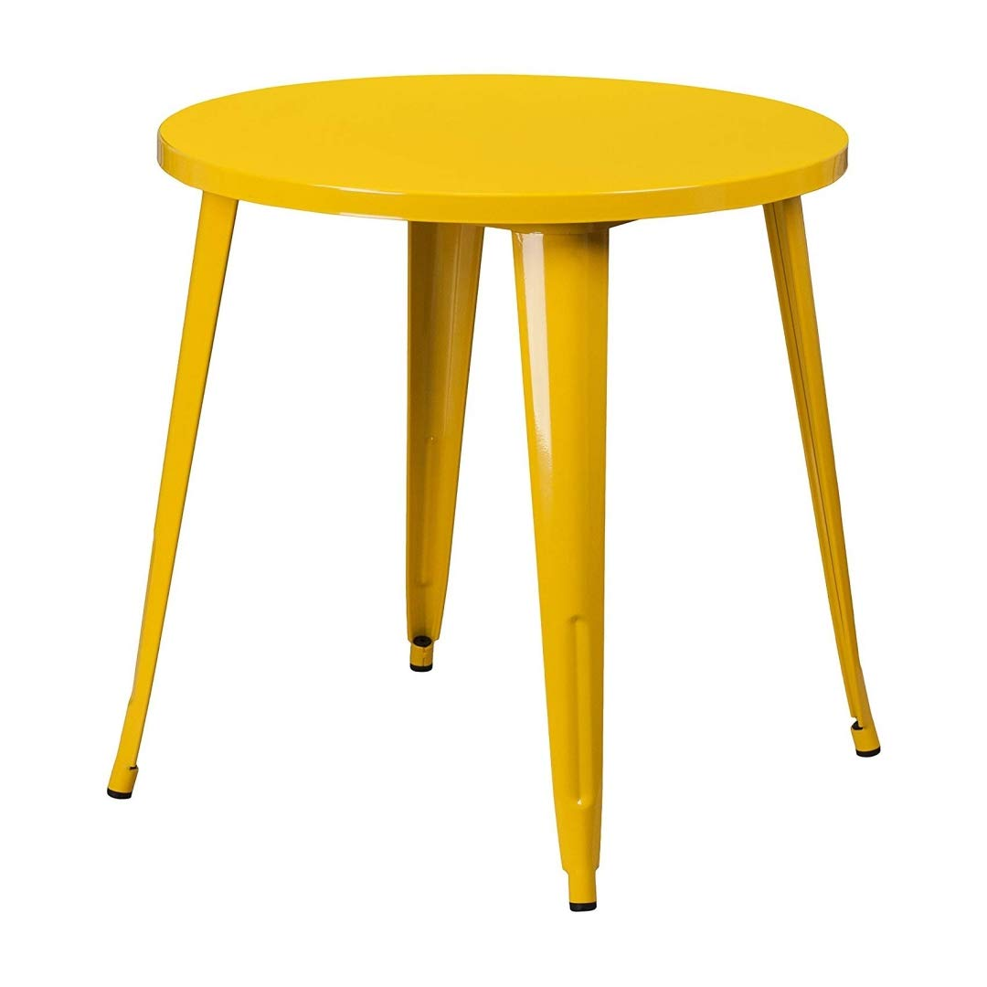 Modern Vintage Style Cafe Pub Bar Bistro Lounge Dining Round Table Solid Powder Coated Industrial Metal Frame Indoor-Outdoor Home Office Furniture - (1) 30'' Yellow #2106
