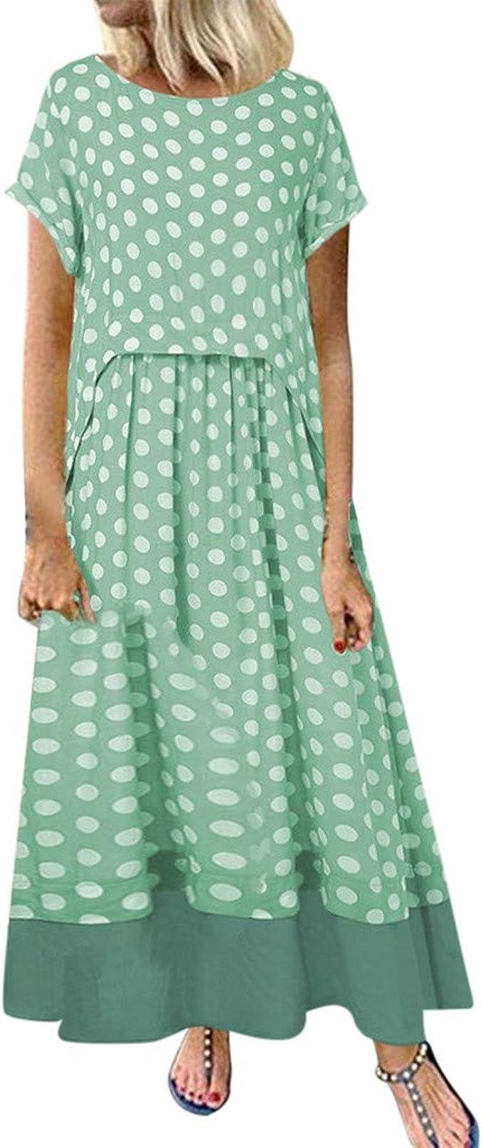 Ansenesna Damen Kleid Punkte Sommer Baumwolle Große Größen Lang