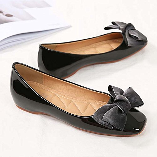 Dress Dance Classic Slip Shiny JINANLIPIN Women's Shoes Square Toe Ballet Loafer Black On Casual Bow Flats wxTBqfvx
