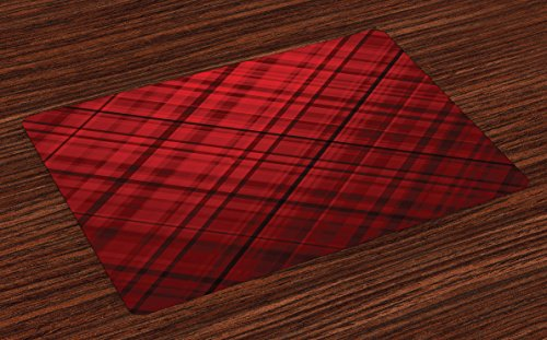Ambesonne Red and Black Place Mats Set of