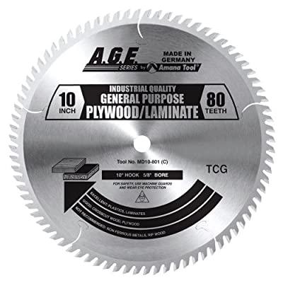 A.G.E. Series by Amana Tool MD10-801 Plywood/Laminate 10-Inch Diameter by 80-Teeth by 5/8-Inch Bore, Triple Chip Grind Carbide Tipped Saw Blade
